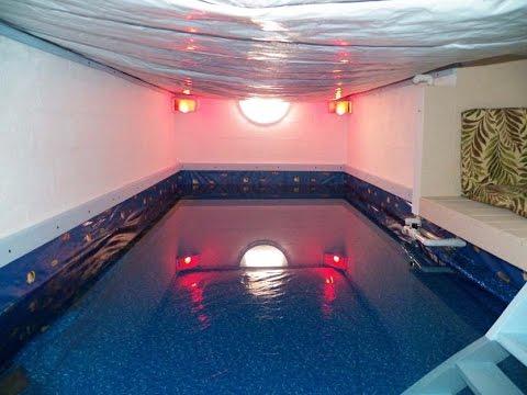 Indoor Swimming Pool DIY from Crawl Space to Simulate Ocean Beach 1 of 2