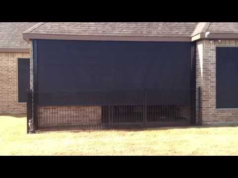 Southern Patio Enclosures remote controlled High Wind Sun Shade drop curtain patio enclosure