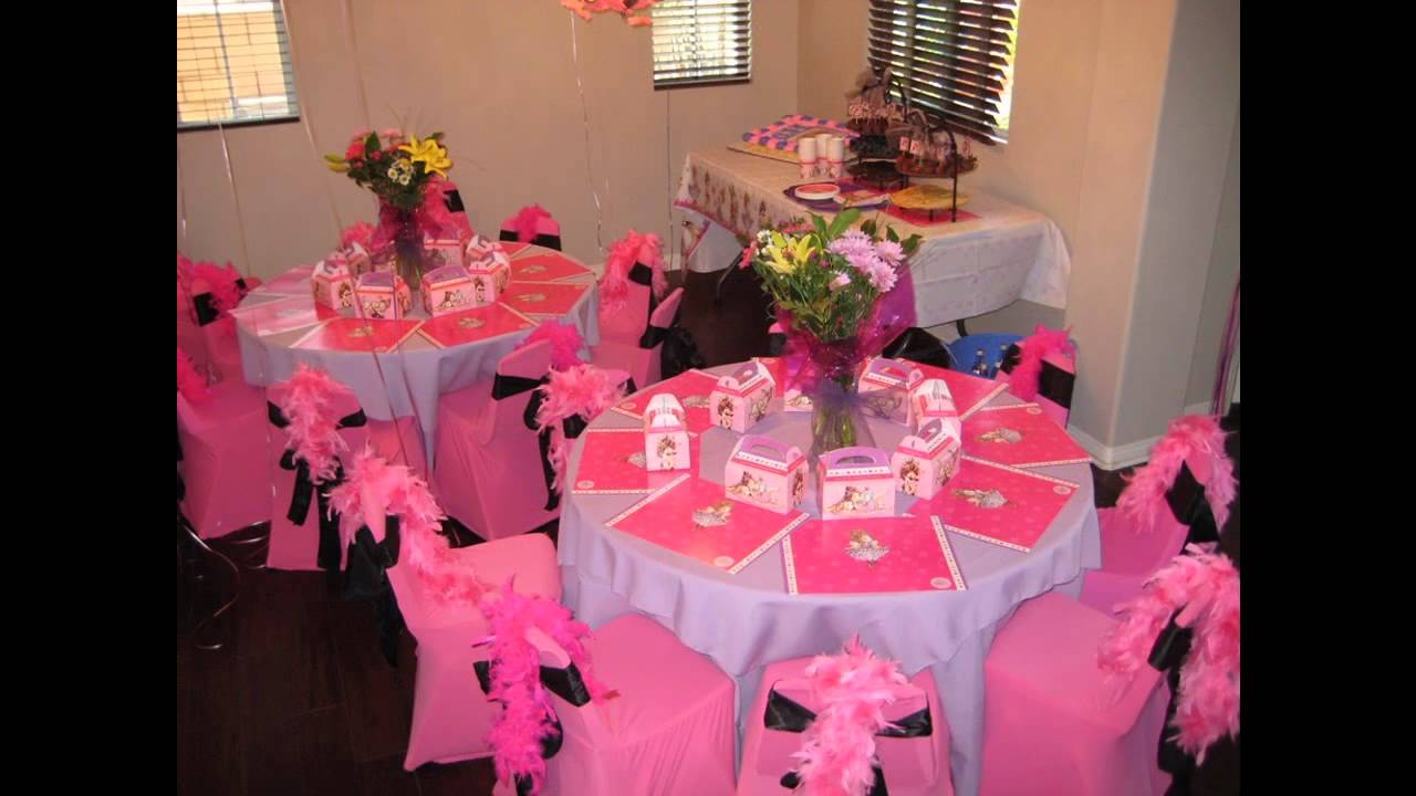 At home table birthday party decoration ideas youtube for Home decorations for birthday party