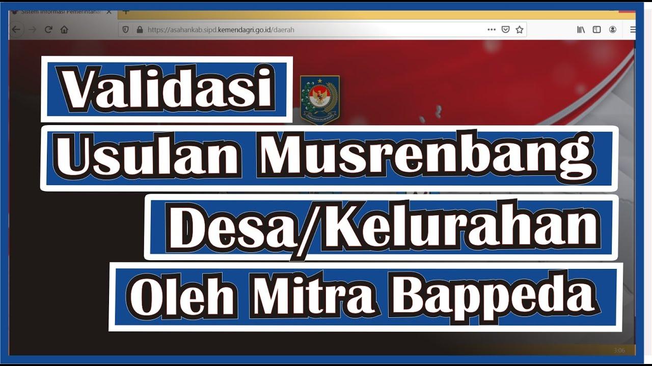 Tutorial Cara Validasi Usulan Musrenbang Desa/Kelurahan Oleh Mitra Bappeda  di SIPD Ep. 15
