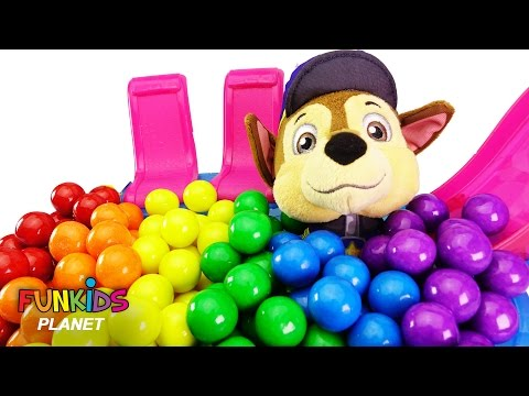 Thumbnail: Best Learning Colors Video for Children - Paw Patrol Skye & Chase Takes Candy Gumball Bath Bath Tub