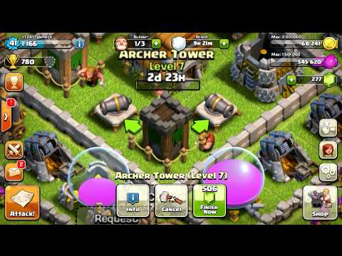 Clash Of Clans Upgrading Level 7 Archer Tower!