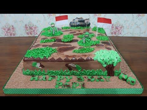 Kue Ulang Tahun Tni Terbesar 40cm Kue Ultah Fondant Cake Tart Unik Youtube