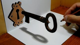 3D Trick Art on Paper, The Old Key