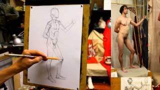 Короткий рисунок контрапоста (1). Обучение рисунку.Фигура. 42 серия.
