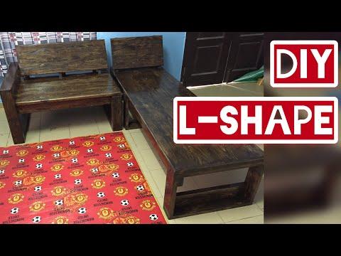 diy L shape wooden sofa