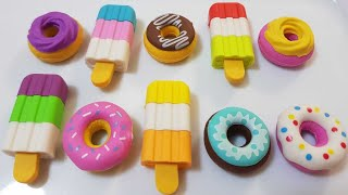 learn colors ice cream&donuts Erasers unboxing korean kongsuni pretend to eat ice cream & donuts