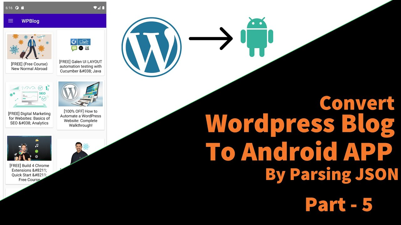 Convert WordPress Blog to Android App Using JSON API|Part 5| Display Posts in RecyclerView