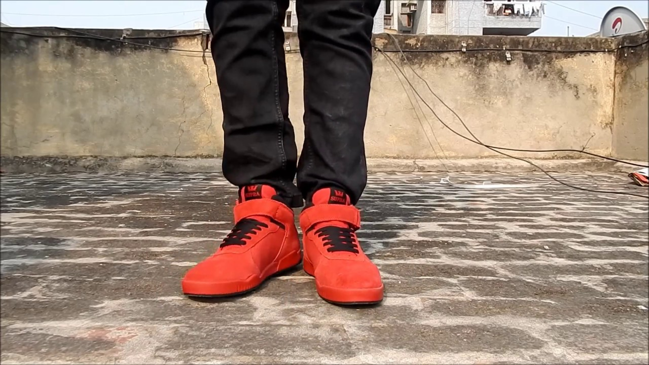 983da3e88b49 Supra Red Perforated ellington strap sneaker shoes - YouTube