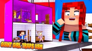 Minecraft GIANT GIRL TRAPS US IN HER DOLLHOUSE  & KEEPS US AS HER TOYS!!!