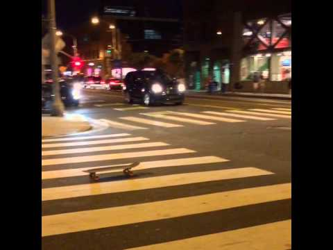 Drunk guy tries to skate home from the bar (original)