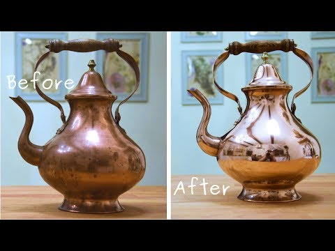 Copper Teapot restoration - satysfying to watch old thing rescue