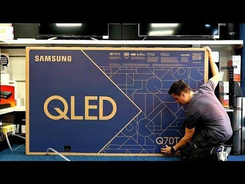 """85"""" Samsung Q70T Unboxing, Setup and 4K Demo Videos, 4K HDR QLED TV 2020"""