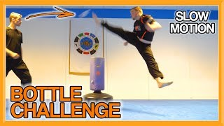 Taekwondo Bottle Kick Challenge Sampler (with Slow-Motion) | Martial Arts Challenge