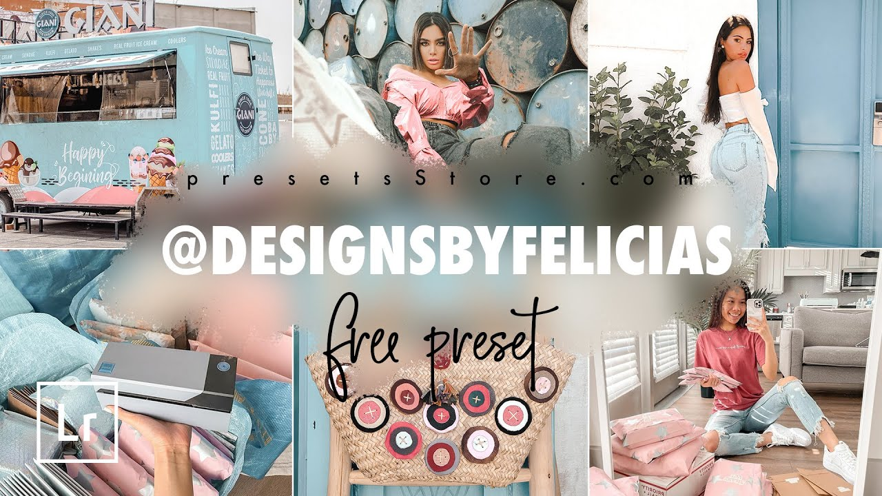 Light Pink Blue Photo Editing in Lightroom Mobile @DESIGNSBYFELICIAS Inspired Presets Free Download
