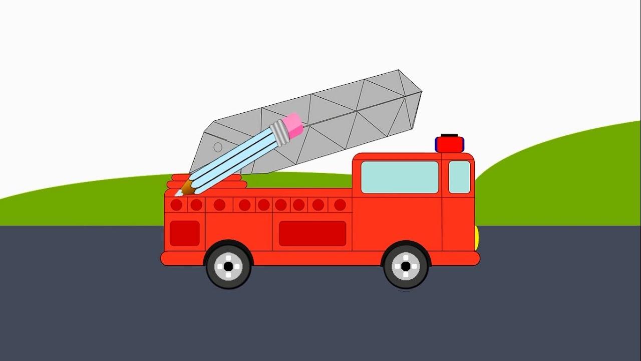 Машины.Мультик раскраска. Пожарная машина. Учим Цвета ...