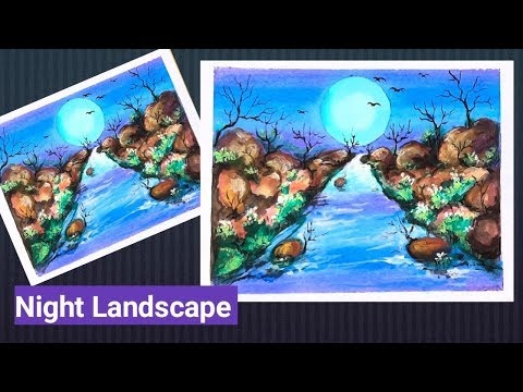 How to draw Night Landscape painting
