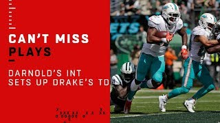 Sam Darnold Tosses Pick & Kenyan Drake Makes Jets Pay w/ TD!