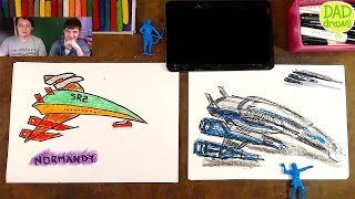 How to draw spaceship Normandy from Mass Effect