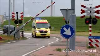 Ambulance met spoed moet wachten op goederentrein