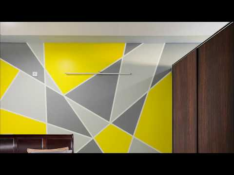 Painting Geometric Triangle Accent Wall Pattern | AapkaPainter at Trifecta Starlight, Bangalore
