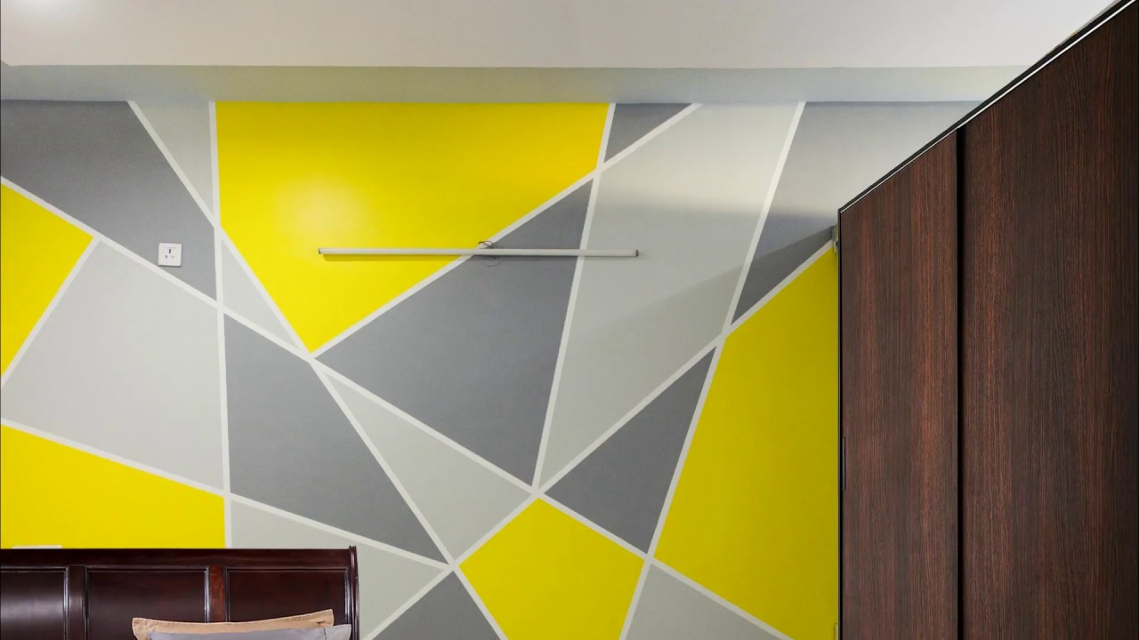 Painting Geometric Triangle Accent Wall Pattern | AapkaPainter at ...