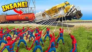 99 SPIDER-MEN vs. TRAIN! (GTA 5 Funny Moments)
