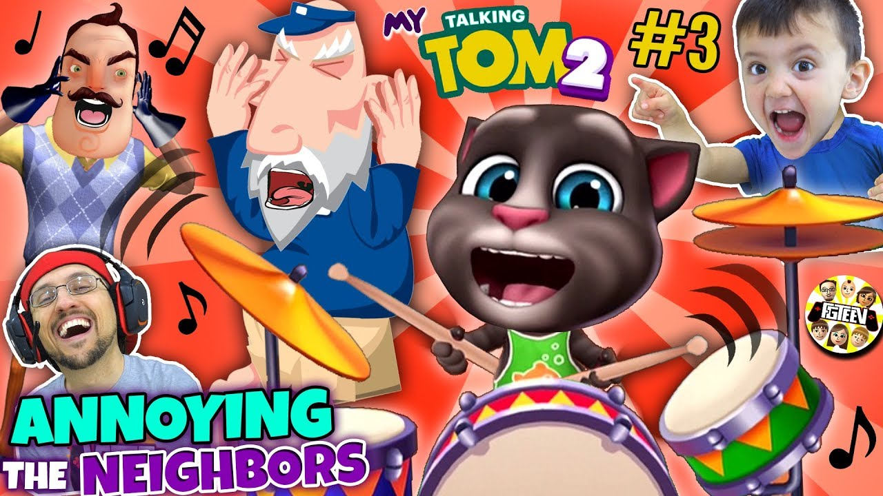 MY TALKING TOM 2 Annoys the Neighbors! (FGTEEV Boys)