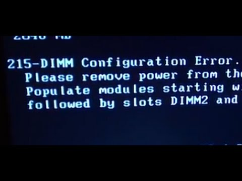 Solved How To Fix 215 Dimm Configuration Error On Computer Youtube