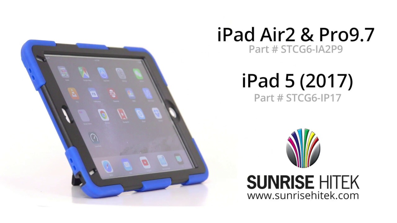 quality design 0a29d d8267 Rugged iPad Case for 5th Gen 2017 iPad with Kickstand and Screen Protector