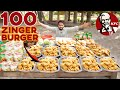 KING of KFC  / 100 KFC ZINGER BURGERS / Cooked and Giveaway by Kun Foods