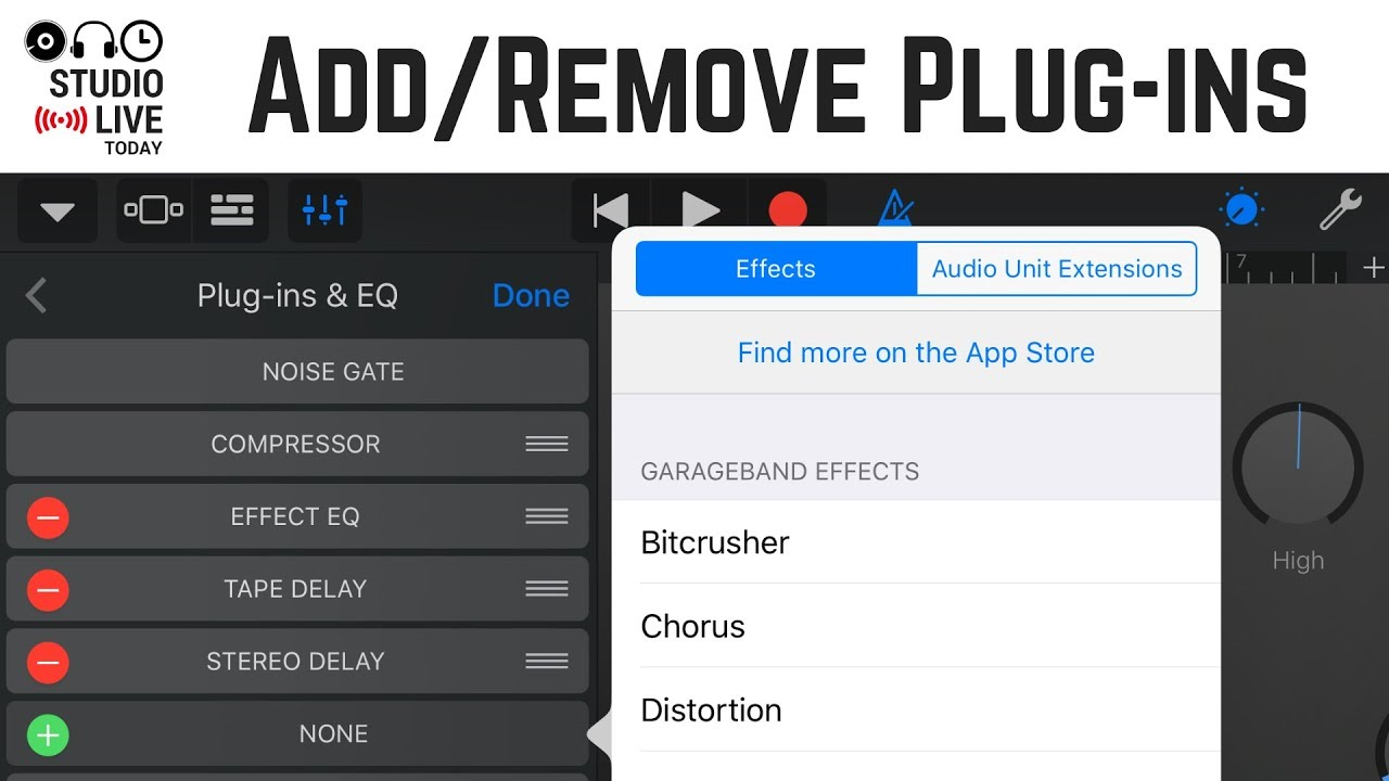 How to add, remove and change plug-ins/effects in GarageBand iOS