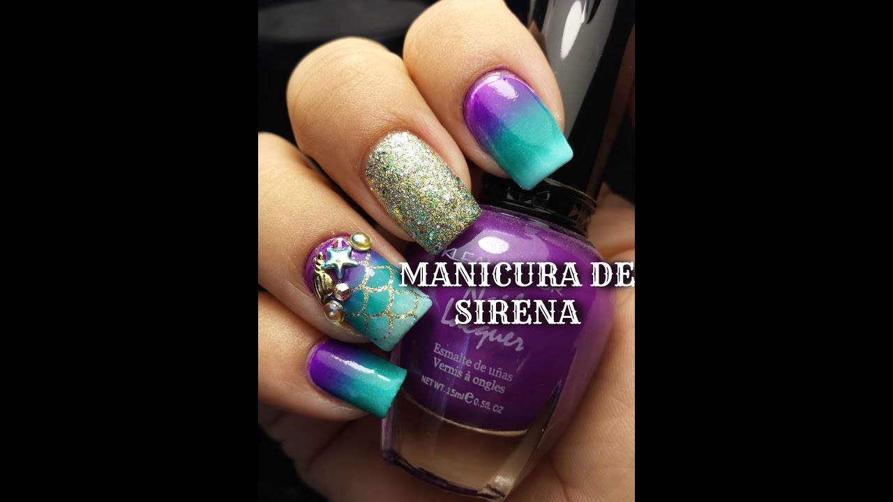 Diseño de Sirena/ Mermaid Nails 😄🌊 - YouTube