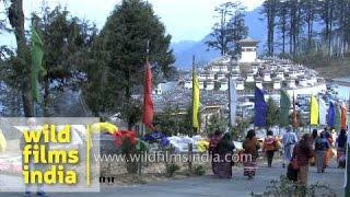 Tourists visit 108 stupas at Dochula pass : Bhutan