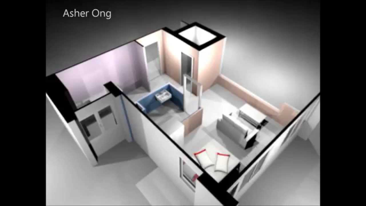 Apartment Room Plan 1 room hdb flat, corner, 1 studio apartment, 1sa model, 3d render