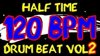 120 BPM - Half Time Drum Beat Rock 2 - 4/4 Drum Track - Metronome - Drum Beat