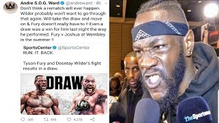 "UNDEFEATED MULTI DIVISION CHAMPION ANDRE ""S.O.G."" WARD GIVE'S HIS THOUGHT'S ON DEONTAY WILDER VS TYSON FURY ENDING IN A DRAW, WHICH HE [WARD] FEEL'S AS IF [WILDER] WAS AWARDED A GIFT DRAW !!"