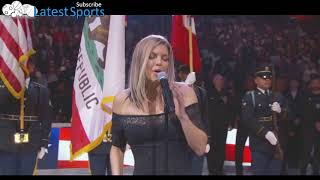 Fergie does the National Anthem in a Marilyn Monroe type fashion. N...