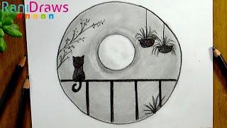 Cómo dibujar un PAISAJE Gato en balcón a LÁPIZ - Paso a paso