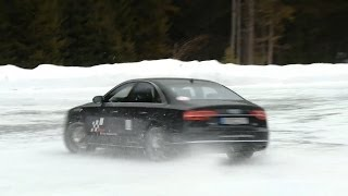 Audi A8 snow donuts drifting on ice 2014 Audi A8 4.0 TFSI review - Autogefühl