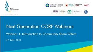 4. Introduction to Community Share Offers. Next Generation Community Solar Webinars