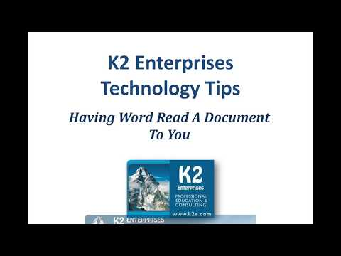Having Word Read a Document to You - YouTube