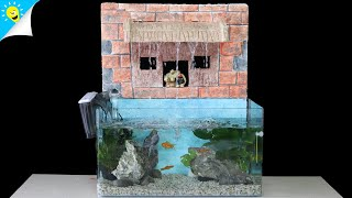 How To Make Fish Tank Fountain With Foam Box & PVC Pipe  - DIY Aquarium Fish Tank Decoration