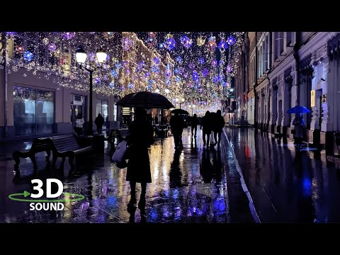 Walking in the rain in Moscow under umbrella. 4k video 3d binaural sound ASMR