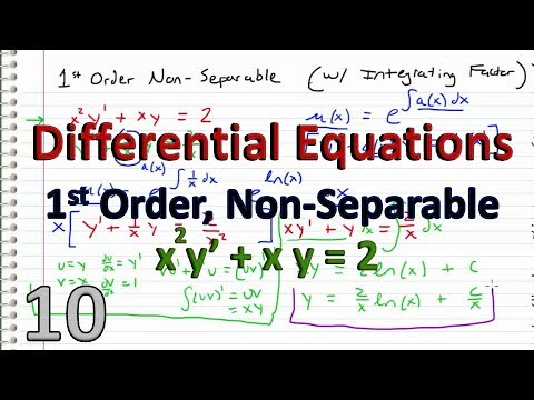 Differential Equations - 10 - Integrating Factor EXAMPLE - 1st order Non-Separable - YouTube