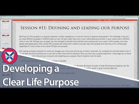 HIGH PERFORMANCE COACHING CALL: Defining Your Life's Purpose in a Singular Statement