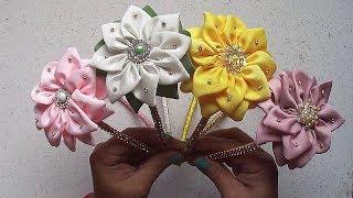 Tiara Social com flor de fitas