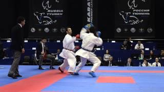 Yagcı Serkan (TUR) - Ainazarov Yermek (KAZ). Karate1. Tyumen, April 2013