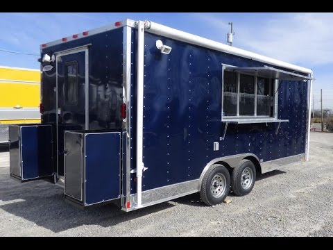 Concession Trailer 8.5' x 18' Indigo Blue Catering Event Food Trailer