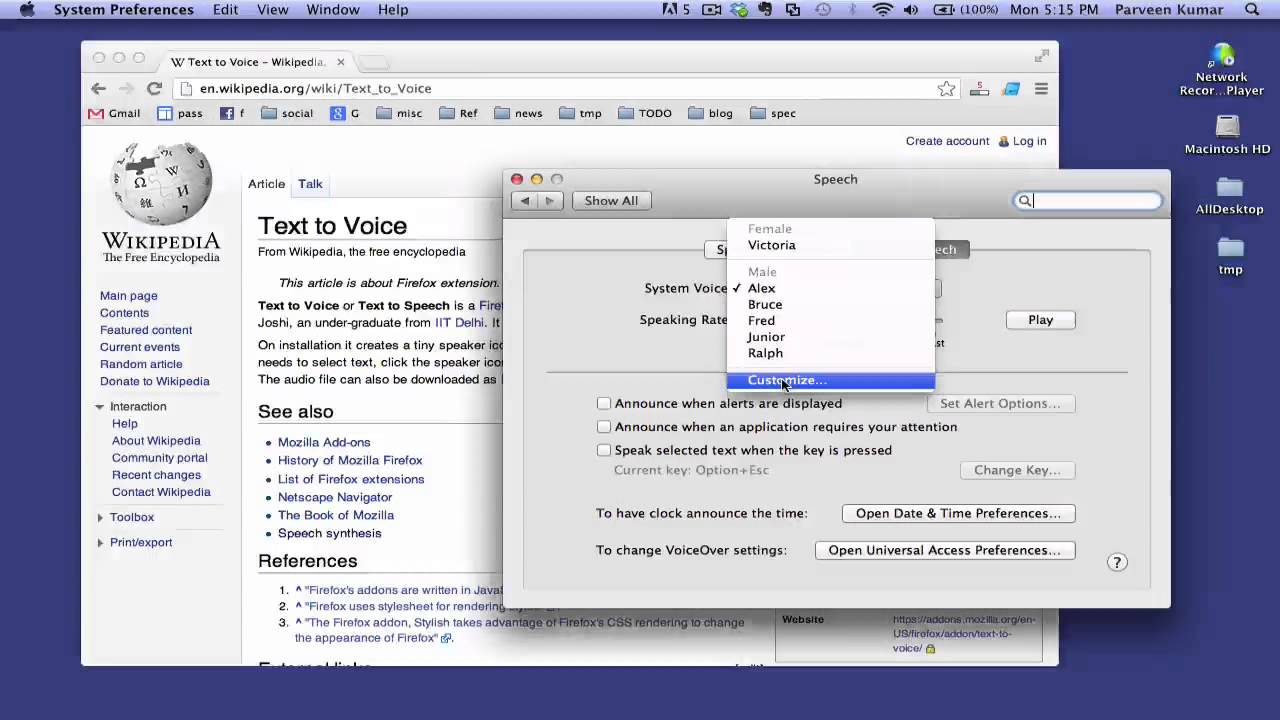How to change default system voice for text-to-speech on Mac